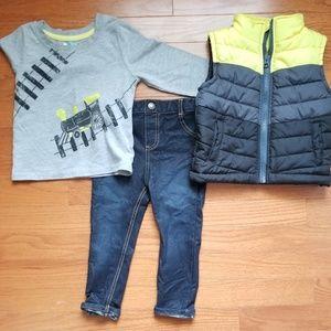 3 piece puffer vest set